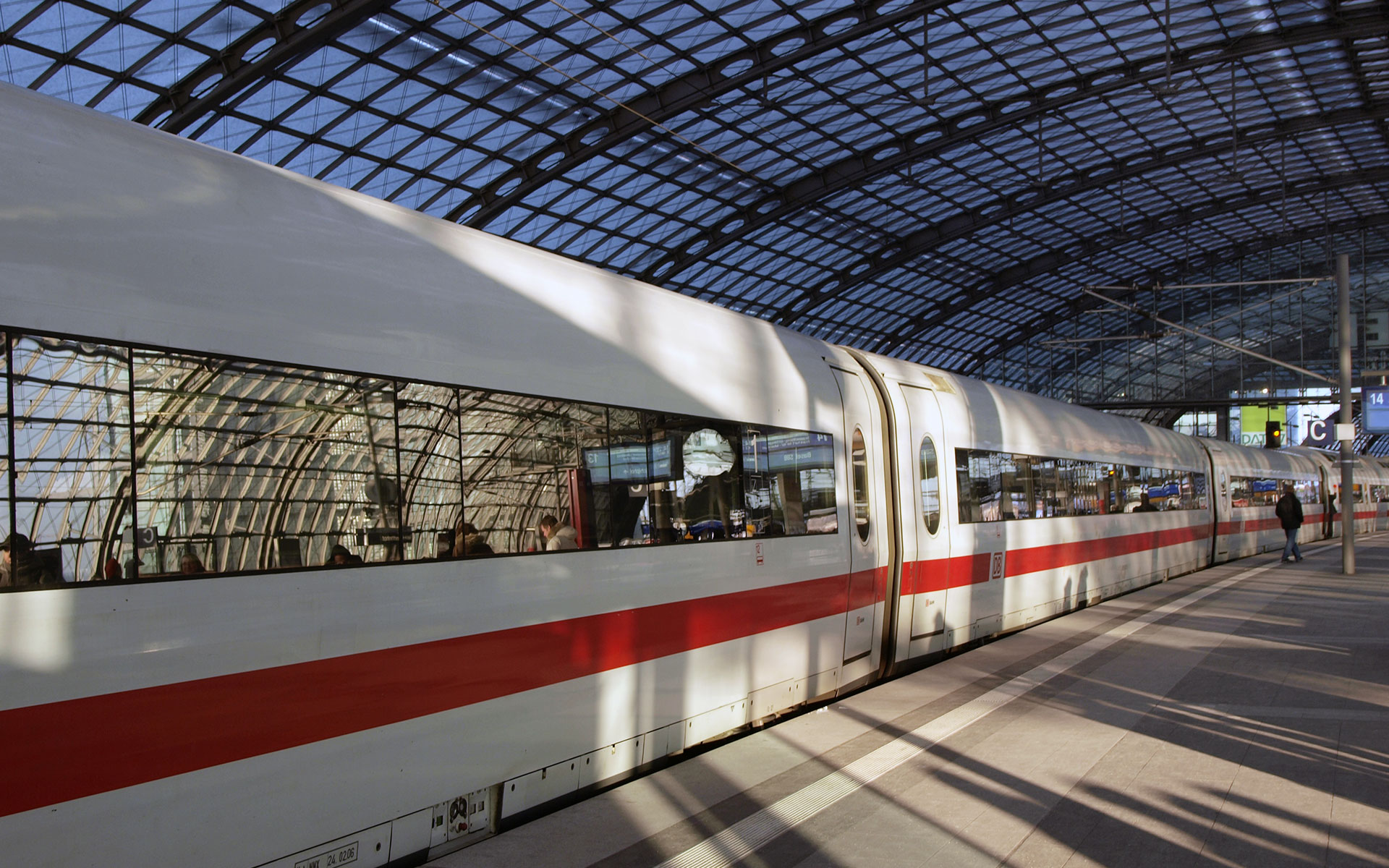 A Deutsche Bahn (DB) ICE train at Berlin Hauptbahnhof (photo © hidden europe).