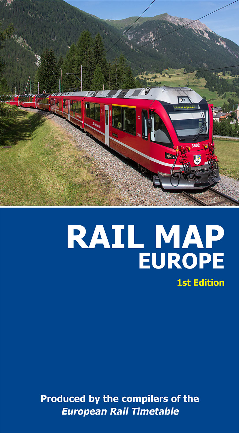 1st edition of the Rail Map Europe, published in December 2015