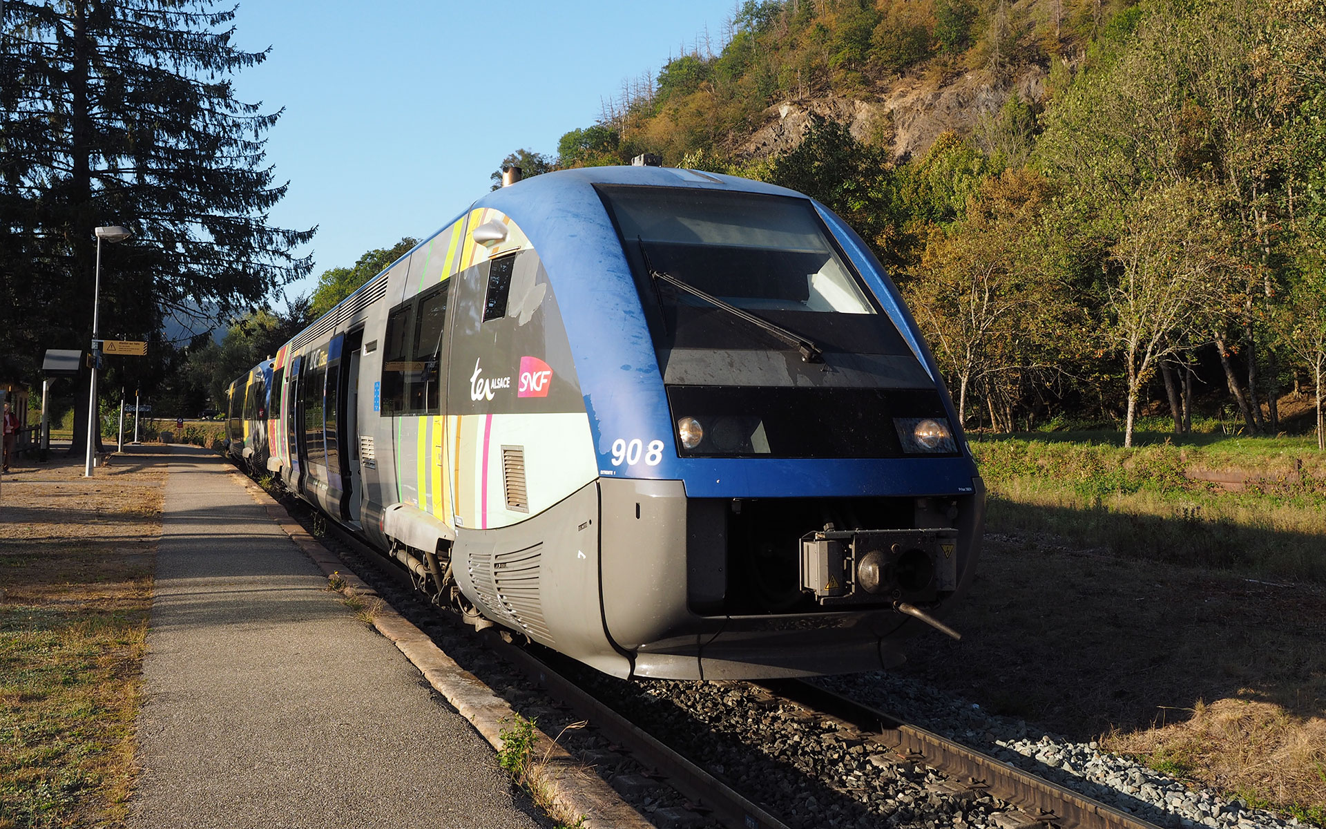 A TER train to Mulhouse prepares to depart from Kruth in the Vosges region of eastern France. The only restricted service on this route is the 06.37 departure from Kruth which is reserved for holders of season tickets (photo © hidden europe).
