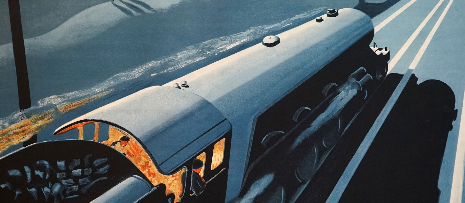 "Detail from Robert Bartlett's famous ""The Night Scotsman"" poster. The poster was one of a series commissioned by LNER to promote both daytime and overnight trains from London to Scotland."